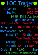 LOCTrader is an expert advisor for MT4 which trades using special signal indicators and includes 8 trailing stop loss algorithms.