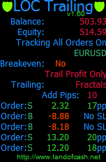 LOCTrailing is an 9 in 1 automated order stop loss trailing expert advisor (EA) with a breakeven functionality.